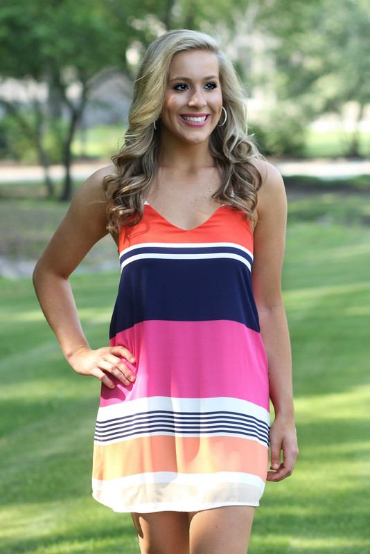 Stuck On You Dress: Navy/Pink