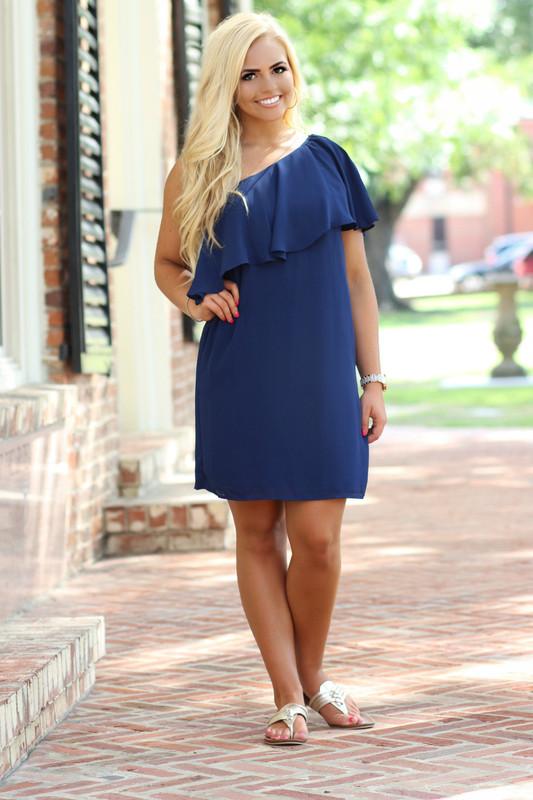Beaufort One Shoulder Dress: Navy