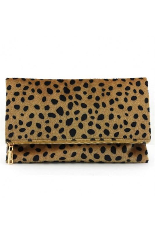 Fold-Over Leopard Clutch