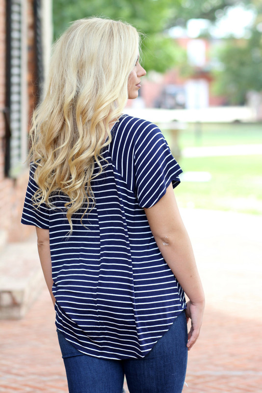 Drop Shoulder Top: Navy Striped