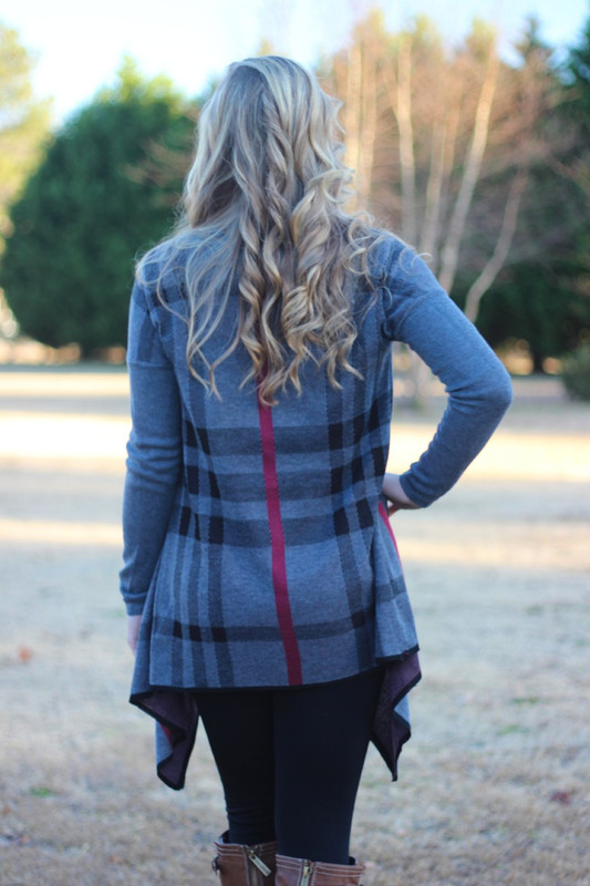 Plaid Beauty Cardigan: Charcoal