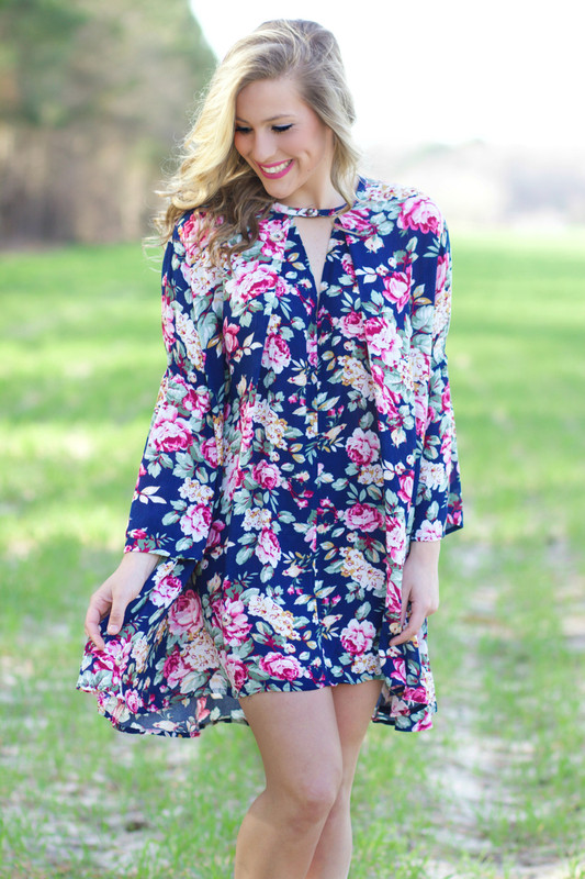Pop Of Floral Dress: Navy