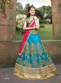 Blue color Net Fabric Kids Wear Lehenga Choli