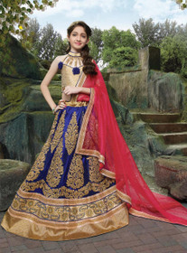 Fabulous Royal Blue Net Kids Lehenga Choli42