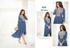 Fabulous Soft Blue Semi Georgette Kurti Top1275