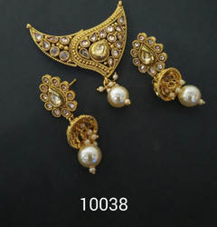 Amazing Gold Plated Floral Pattern Mangal Sutra Set1171