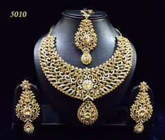 Stunning Gold Plated Heavy Bridal Necklace Set1954