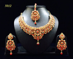 Stunning Gold Plated Heavy Red Stone Work Necklace Set1956