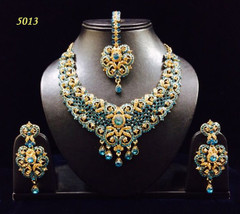 Stunning Gold Plated Blue Stone Work Necklace Set1957