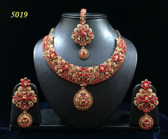 Stunning Gold Plated Heavy Red Stone Work Necklace Set1963
