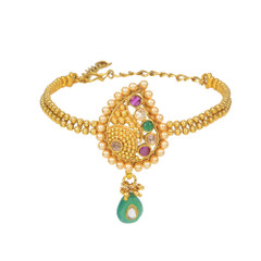Stunning Gold Plated Pearl & Stone work Armlets2024