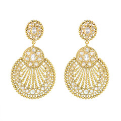 Stunning Gold Plated White Stone Work Earrings2010