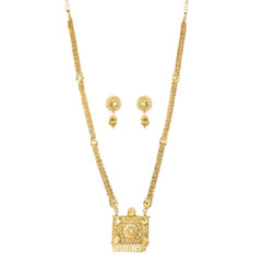 Stunning Gold Plated Mangal Sutra Style Necklace Set2034