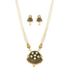 Stunning Gold Plated Pearl & Minakari Necklace Set2041
