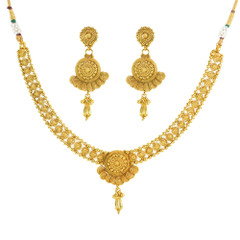 Stunning Gold Plated Floral Pattern Necklace Set2043