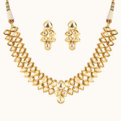 Stunning Gold Plated Kundan Work Necklace Set2046