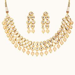 Stunning Gold Plated Kundan Work Necklace Set2047