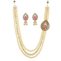 Stunning Gold Plated Pearl Work Necklace Set2048