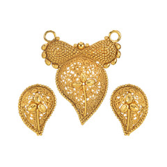 Stunning Leave Pattern Gold Plated Mangal Sutra Set1974