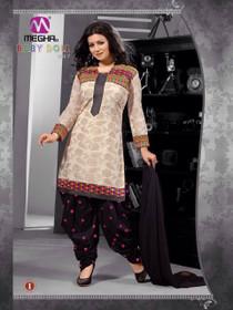 Elegant Cream and Black Cotton  Patiala Salwar Kameez207