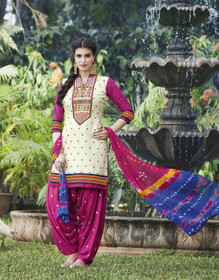 Elegant Cream and Pink Pure Cotton Patiala Salwar Kameez214