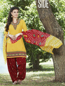 Elegant Yellow and Maroon Pure Cotton Patiala Salwar Kameez215