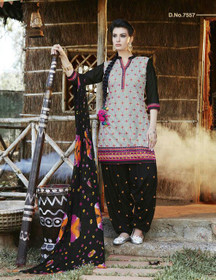 Elegant Grey and Black Pure Cotton Patiala Salwar Kameez216