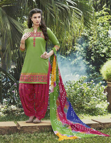 Elegant Green and Red Pure Cotton Patiala Salwar Kameez217