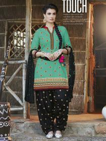 Elegant Green and Black Pure Cotton Patiala Salwar Kameez218