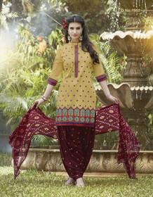 Elegant Mustard and Maroon Pure Cotton Patiala Salwar Kameez219