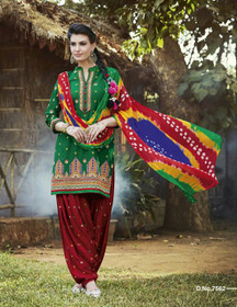 Elegant Green and Red Pure Cotton Patiala Salwar Kameez220