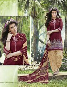 Elegant Maroon and Beige Pure Cotton Patiala Salwar Kameez221