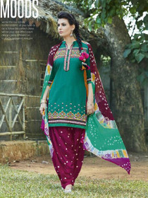 Elegant Green and Maroon Pure Cotton Patiala Salwar Kameez222