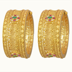 Stunning Gold Plated Stone Work Kada2397