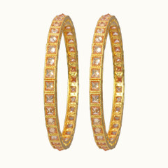 Stunning Gold Plated Stone Work Kada2398