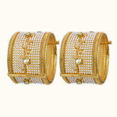 Stunning Gold Plated Pearl Work Kada2400