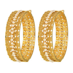 Stunning Gold Plated Pearl Work Kada2405