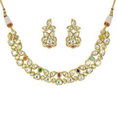 Stunning Gold Plated Kundan Work Necklace Set2412