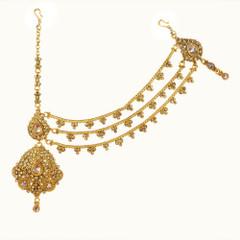 Stunning Gold Plated Antique Look Maang Tikka2416