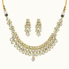 Stunning Gold Plated Kundan Work Necklace Set2419