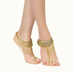 Stunning Gold Plated Pearl Work Ruby Anklets2351