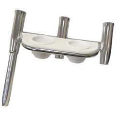 Tigress Offset Triple Rod Holder w/Cup Holders - Starboard Side - Polished Aluminum [88148-1]
