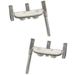 Tigress Offset Triple Rod Holder w/Cup Holders - Port Side  Starboard Side - Polished Aluminum [88148PS-KIT]