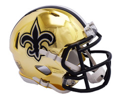 New Orleans Saints Helmet Riddell Replica Mini Speed Style Chrome Alternate