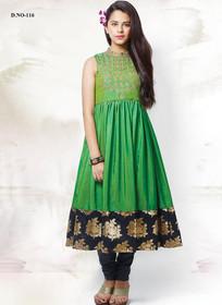Stunning Leave Green and Black Silk Kids Anarkali Salwar Kameez2906
