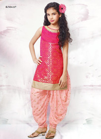 Stunning Baby Pink and Dark Pink Chanderi Tafeta and Jacquard Kids Patiala Salwar Kameez2907
