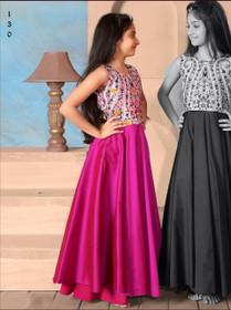 Stunning Magenta and White Taffeta Silk Kids Wear Gown3336