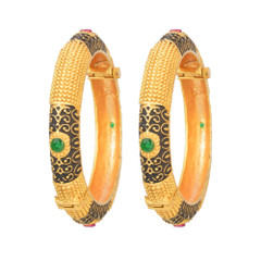 Magnificent Gold and RubyGreen Bangles2043