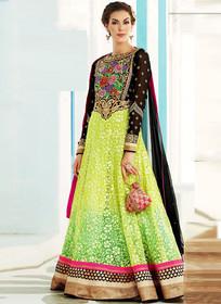 Black Green net brasso Anarkali suit