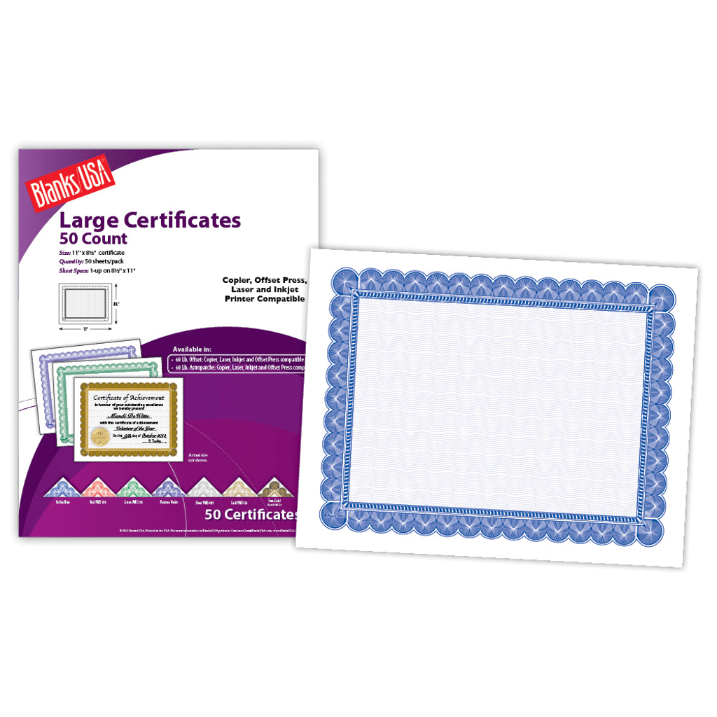 """Certificate, 1-up on 11"""" x 8.5"""""""